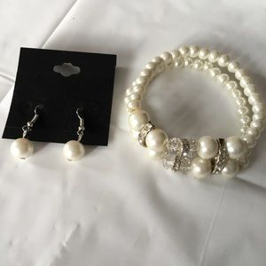 Jewelry - White beaded bracelet and Earring set
